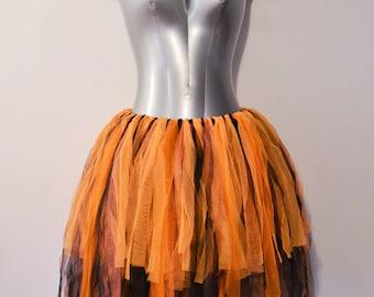 Black and Orange Gothic Halloween Tutu Fairy Skirt