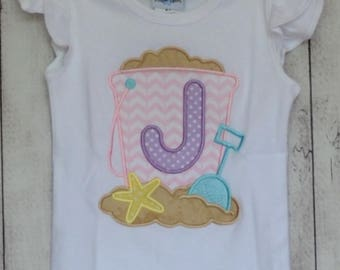 Personalized Beach Bucket with Initial Applique Shirt or Onesie Boy or Girl