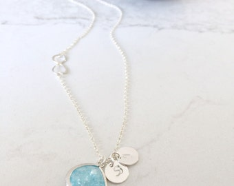 Aquamarine necklace Aquamarine Jewelry monogram initials Sideways infinity March Birthstone Personalized Initial Necklace Beach Wedding