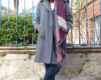 Vintage grey coat, Straight cut , long coat, Size 40