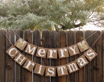 Christmas Banner-MERRY CHRISTMAS Banner/Deer- Natural Garland - Holiday Decor- Christmas Holiday Decor- Rustic Photo Prop-Deer Silhouette