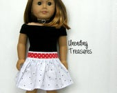 18 inch doll clothes made to fit like American Girl doll clothes black off shoulder top white skirt with black dots and red belt with hearts