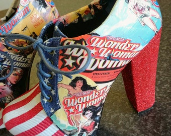 LIMITED EDITION: Wonder Woman Stars and Stripes Platform Ankle Boots