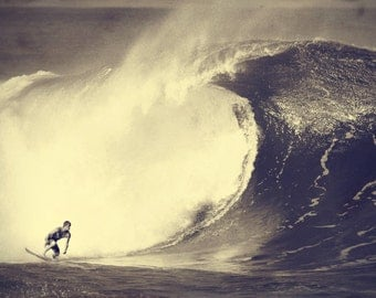 Surf Photography - Surfer Surfing a Huge Wave at Pipeline in Hawaii Photo - Free Shipping