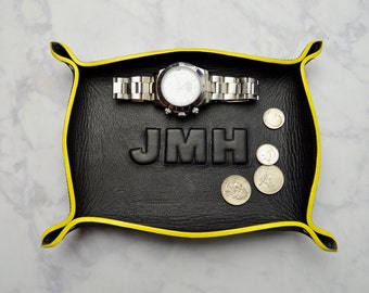 custom monogram leather tray / catch all / mens / dresser organizer / valet tray / personalized mens gift / jewelry bowl