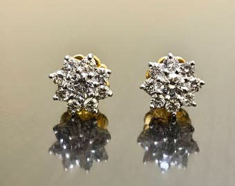 18K Yellow Gold Halo Diamond Earrings - Art Deco 18K Gold Diamond Stud Earrings - 18K Gold Diamond Art Deco Earrings - Diamond Halo Earrings
