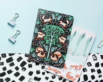 Folk Foxes Pocket Notebooks - Set of Two Lined // Plain A6 Notebooks