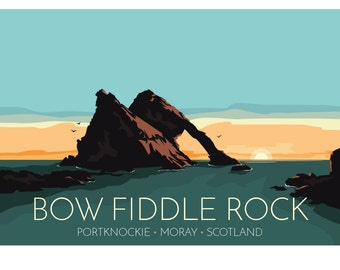 Bow Fiddle Rock, Portknockie, Moray, Scotland, UK - signed travel poster print