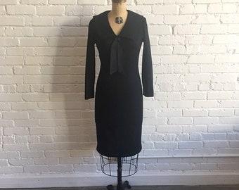 1960s Black Wool Sailor Dress // 60s LBD Wool Wiggle Nautical // Vintage 60s Black Dress