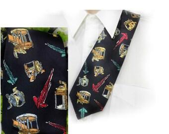 fisherman tie , Fishing Themed Tie , gift for fishermen  - Silk necktie , Novelty tie , sport tie ,  # 179