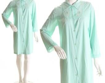 1950s Pale Blue Knee Length Nylon Lingerie Button Down Gown by Texsheen-L