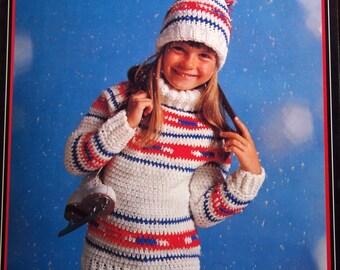 Crochet Ski Sweaters For Boys Or Girls In Sizes 4 To 14 Leaflet 7314 By Brunswick Vintage Crochet Pattern Leaflet 1980