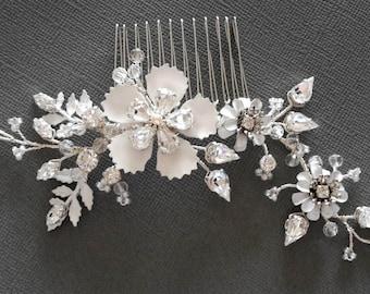 Enamel silver crystal bridal hair comb, Crystal hair comb, floral wedding comb,  silver wedding comb, Crystal comb, Bridal comb