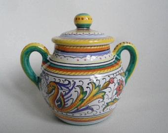 Fima Deruta Majolica ceramic parmigiano bowl,sugar bowl with lid ,italian handpainted pottery,lidded ceramic box,Majolica Raffaelesco