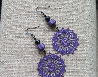purple earrings, filigree earrings, statement earrings, snowflake earrings, lightweight earrings, long purple earrings, violet earrings