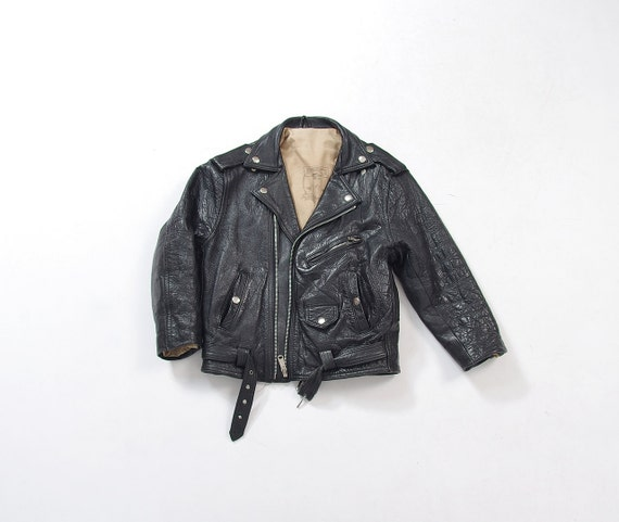 SALE - Vintage Tomahawk Kids Black Leather Biker Moto Jacket / Size 7/8/9 Years Old