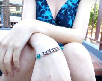 Recycled Bike Chain Bracelet with Dark Green Crystal