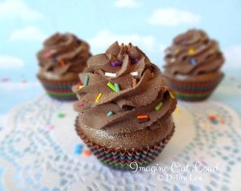 Fake Cupcake Faux Chocolate Black Rainbow Sprinkles