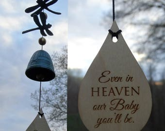 Memorial Bells Dragonfly Custom Gift After Loss Of Mom Dad or Loved One In Memory of stillbirth miscarriage memorial garden