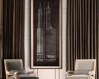 Chicago Carbide and Carbon Building Blueprint : Vintage Chicago Carbide and Carbon Building Blueprint poster print 1929 Giclee Print
