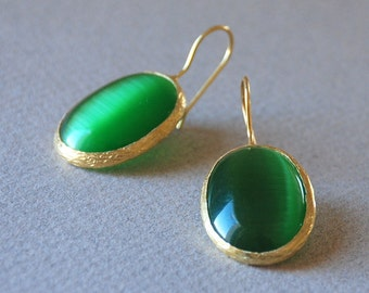 Green Tiger Eyes Jewelry Tiger Eyes Gemstone Gold Plated  Sterling Silver Earrings
