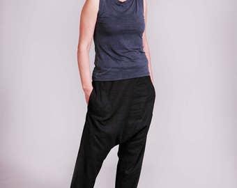 Linen Pants, Black Pants, Drop Crotch Pants, Harem Pants, Baggy Pants, Loose Pents, Womens Trousers, Black, Linen Pants Women