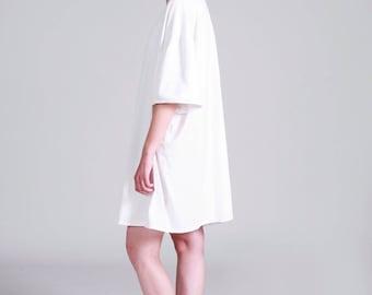 White T Dress, Oversized T Shirt, Short Summer Dress, Short Sleeve Dress, Pluse Size Tunic , Minimalist Dress, Casual