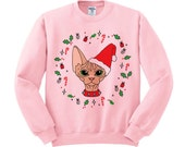 Sphynx Cat Christmas Crewneck, Meowy Christmas, Santa Hat Cat, Holiday Party, Secret Santa, Cat Lover, Holiday Cat