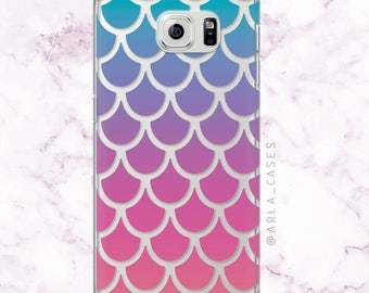 Galaxy Mermaid Phone Case, Ombre Mermaid Tail Samsung Galaxy S7 Edge Case, Note 7, S6 Case, S6 Edge, S5, S4 Case, Cute Summer Phone Case