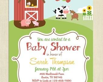 Farm Themed Baby Shower Invitation, Gender Neutral