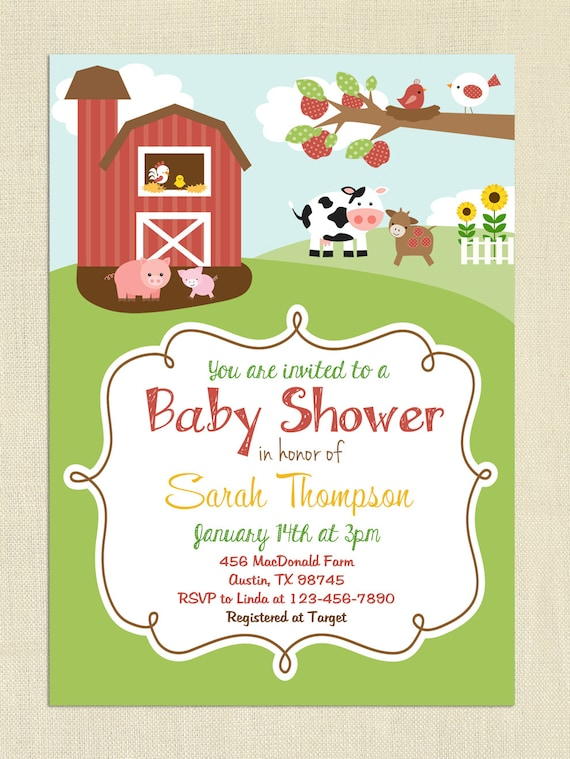 farm themed baby shower invitation gender neutral