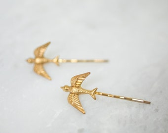 Small Gold Bird Bobby Pins Bridal Hair Clips Bride Bridesmaid Nature Tiny Garden Rustic Woodland Wedding Accessories Womens Gift For Her