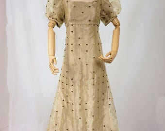 Green and Pale Yellow Dress in the Style of Jane Austen and Pride and Prejudice