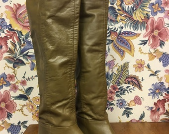 Vintage Over the Knee OTK Leather Boots Souch Boots 8.5