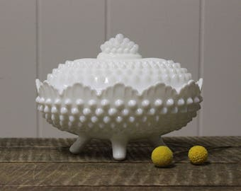 Fenton Hobnail Milk Glass Footed Scalloped Edge Covered Dish