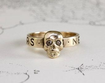 Gold Skull Ring, 14k Yellow Gold & Rose Cut Diamond Alternative Engagement Wedding Stacking Band, Anniversary Gift