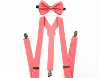 coral bow tie, suspenders and bowtie, coral pink bowtie, coral suspenders, rustic coral, coral wedding, coral bow, coral bowtie set, coral