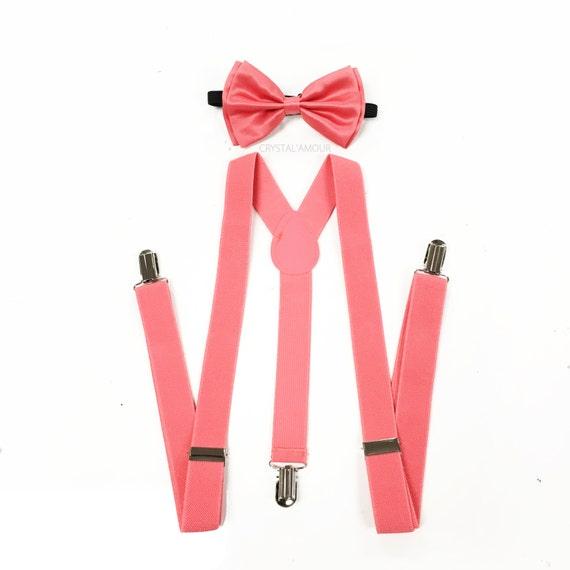 coral bow tie suspenders and bowtie coral pink bowtie coral