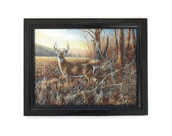 Deer Picture, Bluff Country Buck, Jim Hansel Print, Whitetail, Cabin Decor, Wall Decor, Handmade, 19X15, Custom Wood Frame, Made in the USA