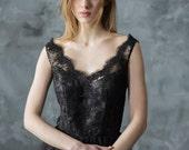 Black lace evening dress, short tulle prom dress, V neckline sparkle party dress, little black dress/ Only one size EU36/ Ready to ship