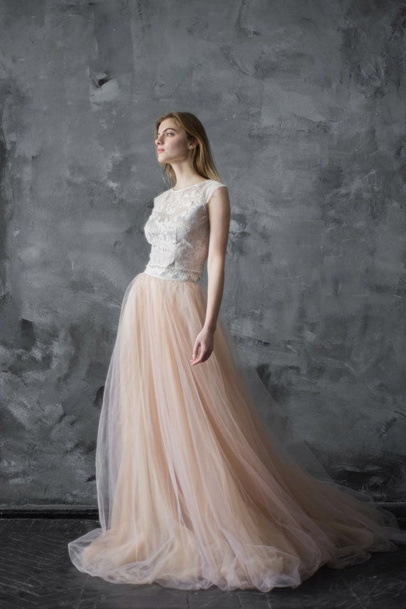 Nude Blush Tulle Wedding Skirt Tulle Wedding Dress Tulle