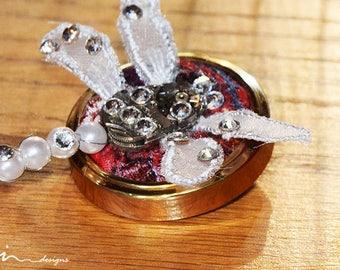 OOAK white dragonfly steampunk brooch