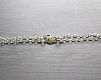Sterling Silver Simple Q Initial Bracelet, Silver Stamped Q Bracelet, Stamped Q Initial Bracelet, Small Q Initial Bracelet, Q Bracelet