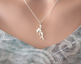 Sterling Silver Mermaid Charm Necklace, Mermaid Charm Necklace, Silver Mermaid Necklace, Mythical Creature Mermaid Necklace, Mermaid Charm