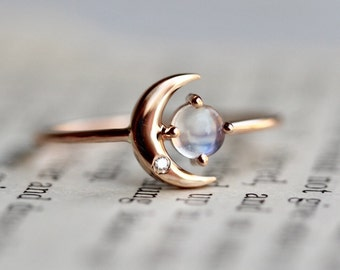 14K Moonstone Star And Moon Ring, Diamond, Night Sky, Astrology Jewelry, Moonstone Ring, June Birthstone, Moon Ring, Crescent Moon