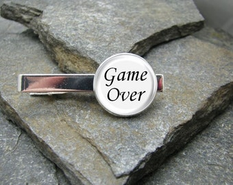 Game Over Tie Clip, Gold or Silver Tie Clip, Game Over Tie Bar