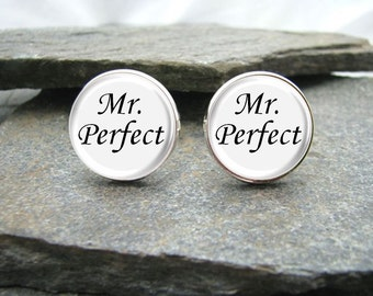 Mr. Perfect Cufflinks, Mister Perfect, personalized cufflinks