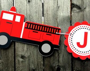 Firetruck Birthday Banner - Fireman Party Banner - Firefighter Birthday Banner - Firetruck Banner - 3D