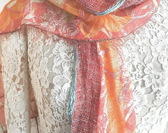 Colorful scarf shawl Ethnic fabric scarf Hippie womans scarf Unique style scarf Summer spring scarf Gift for mom Orange Pink Long scarf
