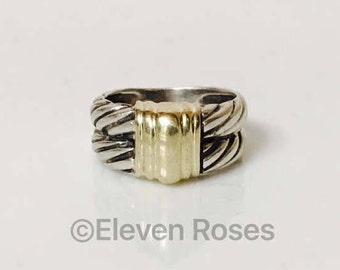 David Yurman Double Row Cable Band Ring 925 Sterling Silver & 585 14k Gold